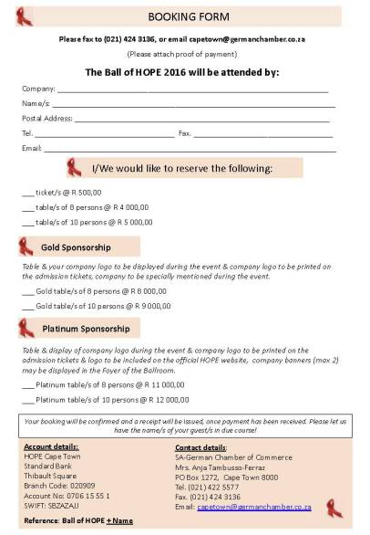 Ball of Hope BOOKING FORM 2016